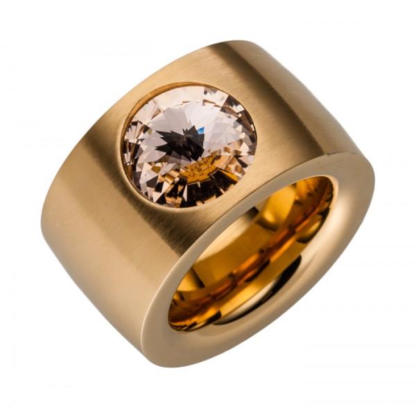 14 mm goldener Stahlring viele Swarovskistein Farben