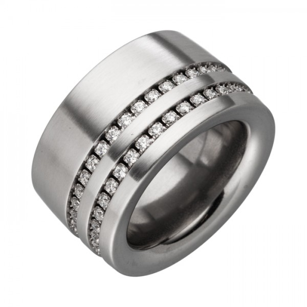 14mm breiter Ring mit zwei Zirkoniareihen