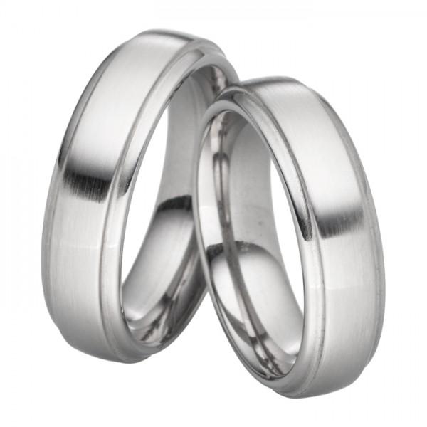 Verlobungsringe aus Stahl, 6 mm breit, dezentes Design