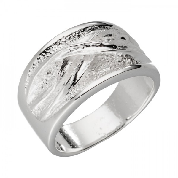Silberring gekreuzte Wellenlinien