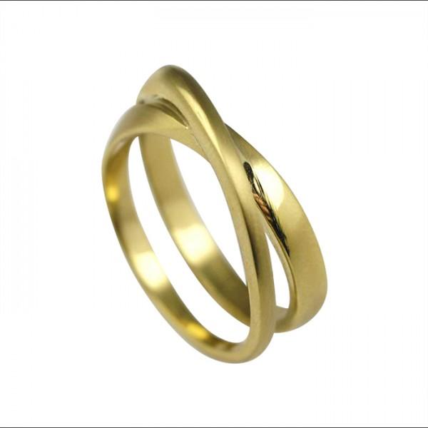 Edelstahlring Gold PVD überkreuzt, matt/poliert