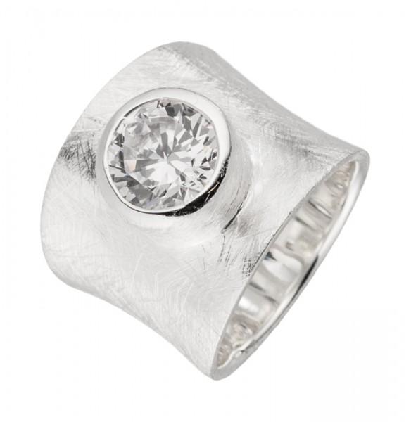 Eismatter Silberring weißer Zirkonia