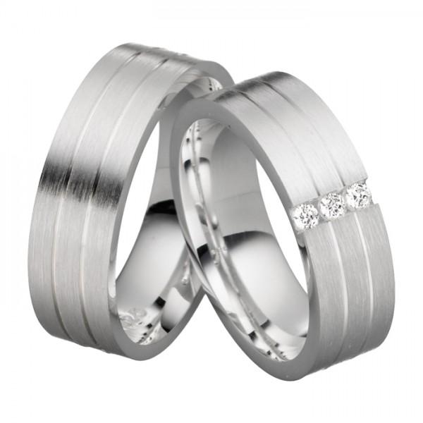 Trauringe Silber 6 mm breit mit Zirkonia