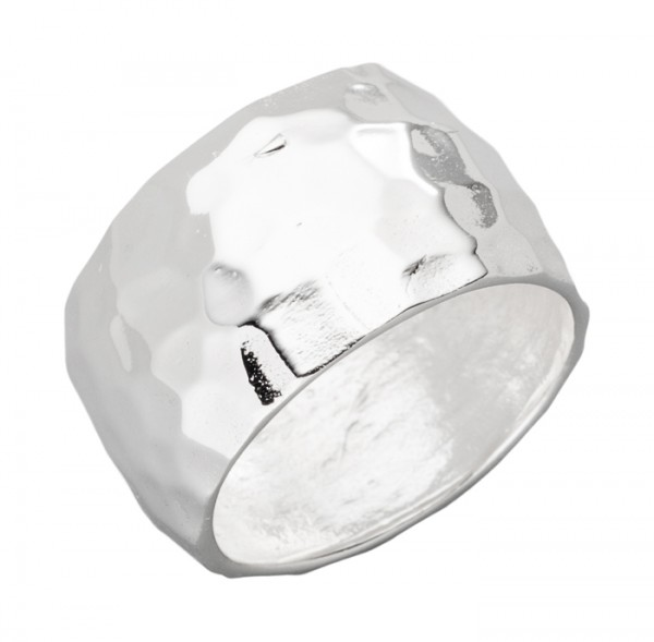 12mm Silberring Hammerschlag Effekt