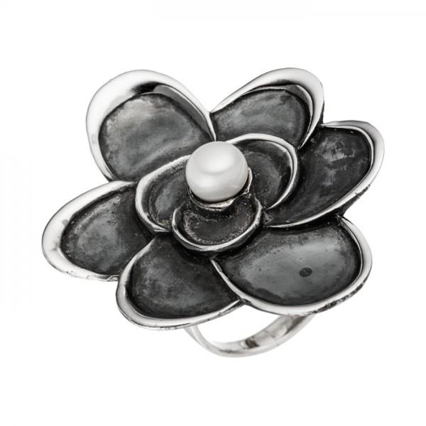 Silberring Blume Süßwasserperle