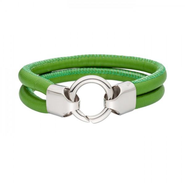 Lederarmband Farbe grün Edelstahlschliesse