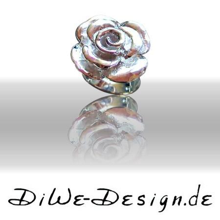 Silberring geschmiedete Rose