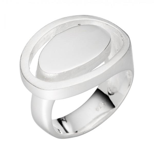 Ovaler Design Silberring matt/poliert