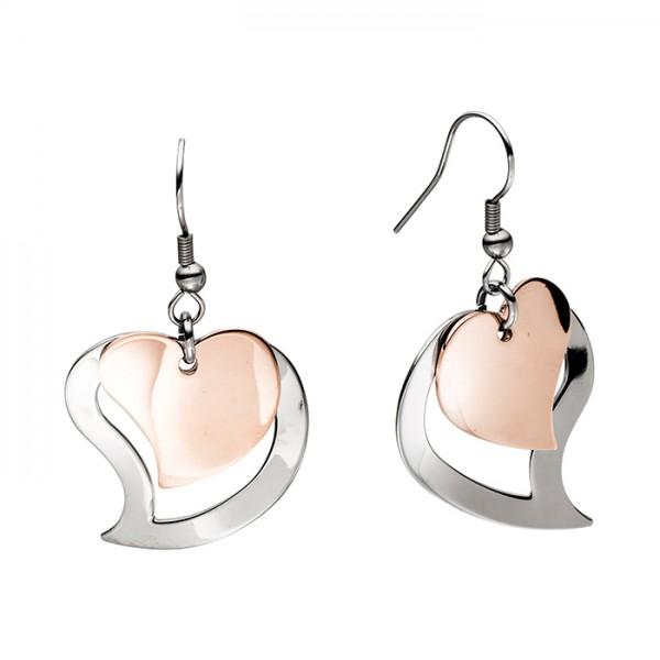 Ohrringe / Edelstahl Herz zweifach PVD Bronze Rose