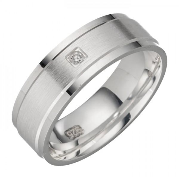 Damenring Silber mit Zirkonia Breite 6,5 mm
