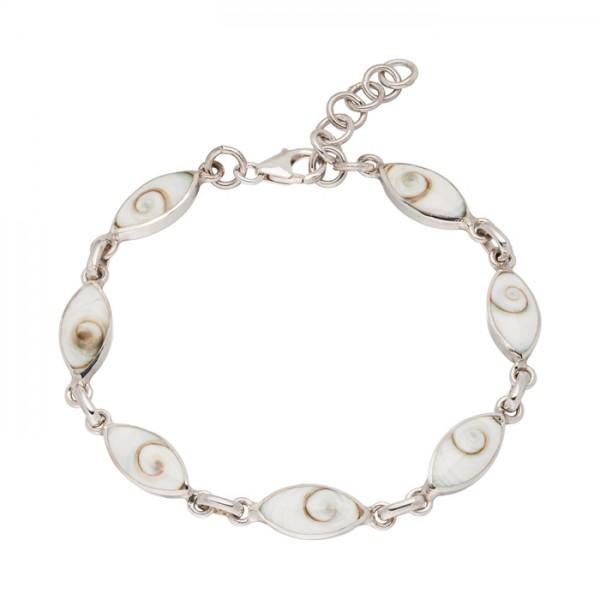 Silberarmband weiße Muschel ovale Glieder