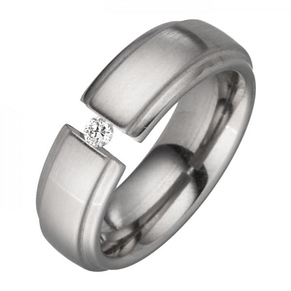 Edelstahl Spannring 6 mm breit, weißer Zirkonia