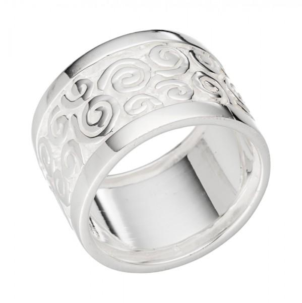 Aufwendiger Silberring Spiralmuster