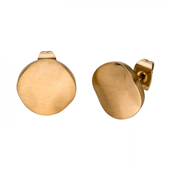 Edelstahl Ohrstecker Gold PVD, matt, wellig, rund