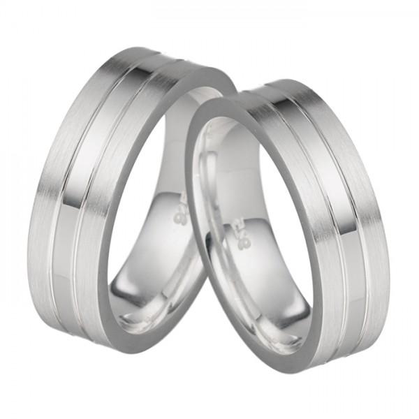 Silbertrauringe Set, edel designt, 6 mm