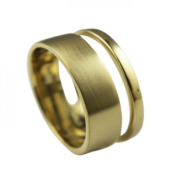 Edelstahlring PVD Gold matt und poliert