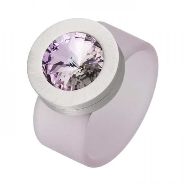 PVC Edelstahl Ring flieder, flieder Swarowski Stein