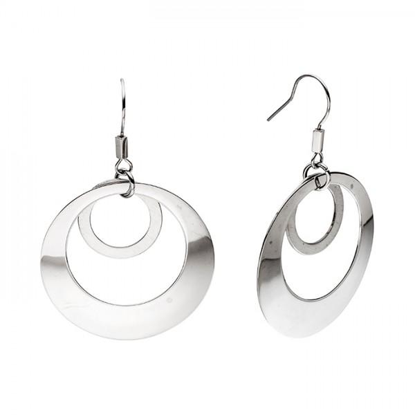 Ohrringe (Edelstahl), 2 Kreise, matt + poliert
