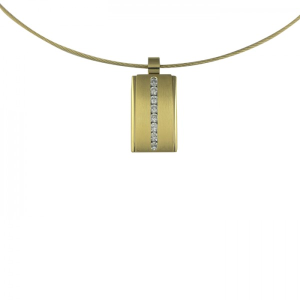 Edelstahlanhänger Gold PVD Rechteck mit Zirkoniareihe