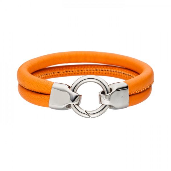 Lederarmband Farbe orange Edelstahlschliesse