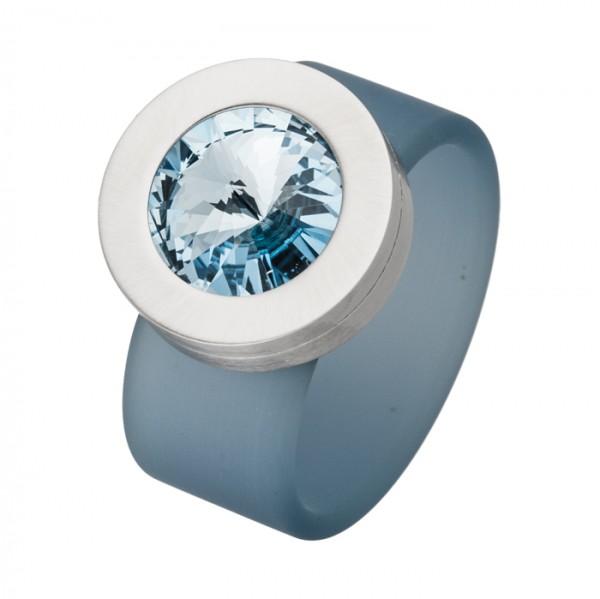 PVC Edelstahl Ring türkis, türkiser Swarowski Stein