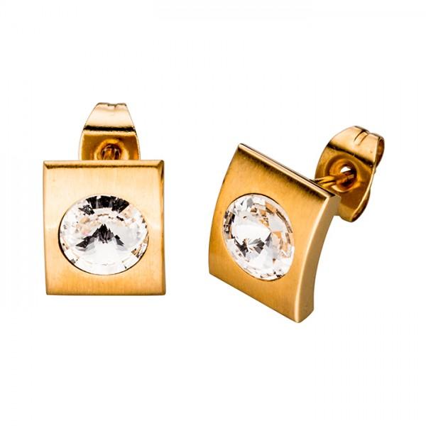 Edelstahlohrstecker + Swarovski Kristall, Farbe Gold PVD