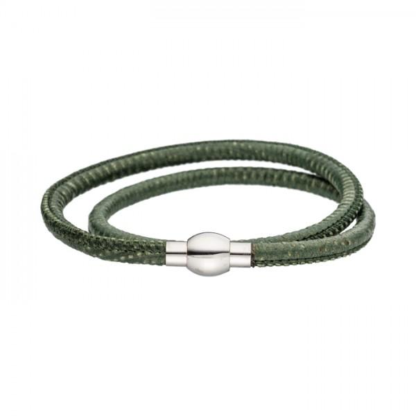 Nappalederarmband oliv Magnetverschluss
