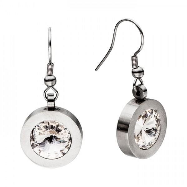Ohrringe Edelstahl 1 cm weißer Swarovski Kristall