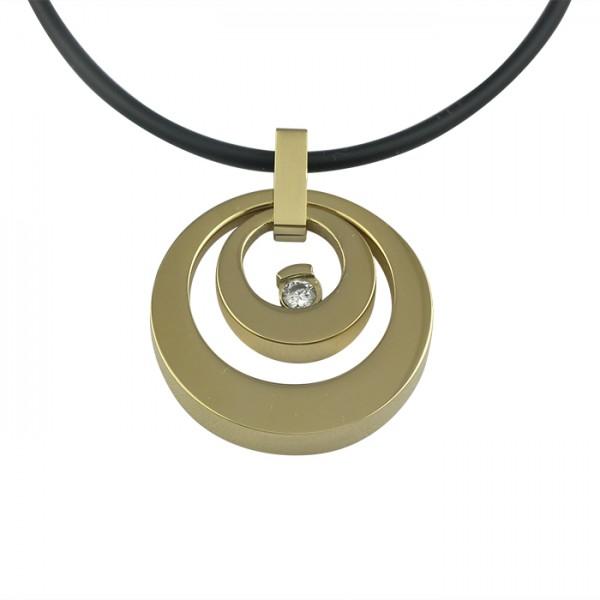 Edelstahlanhänger doppelter Kreis mit Zirkonia Gold PVD