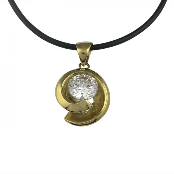 Edelstahlanhänger Spirale Gold PVD mit 10 mm Zirkonia