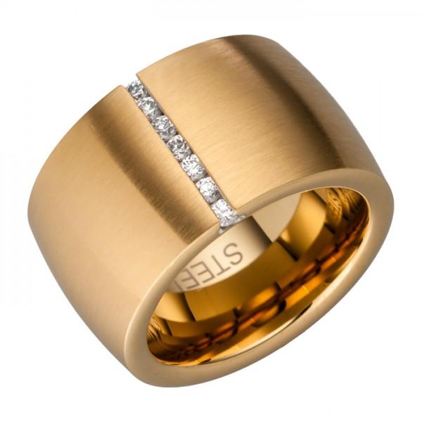 Edelstahlring (14 mm), 7 Zirkonias, PVD Beschichtung Gold