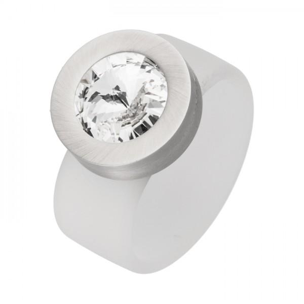 PVC Edelstahl Ring weiß, weißer Swarowski Stein