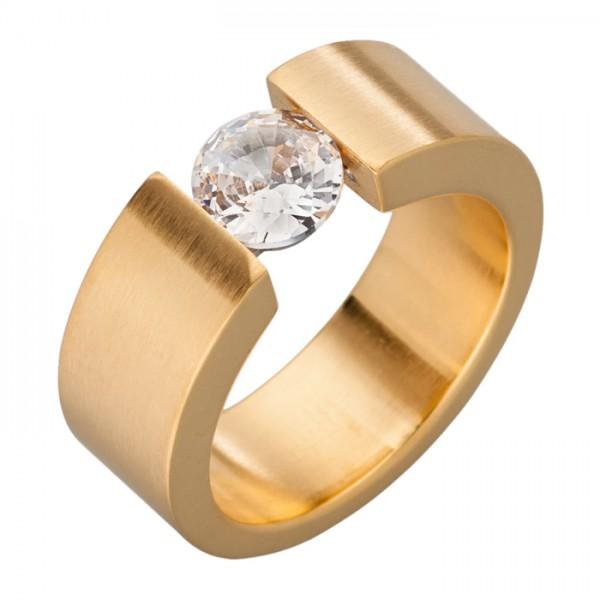 Ring aus Edelstahl, 7 mm, Gold-PVD + Zirkonia