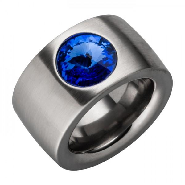 Edelstahlring Swarovskistein Sapphire