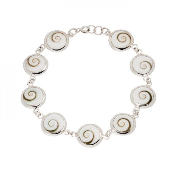 Silberarmband Schneckenmuschelstück rund
