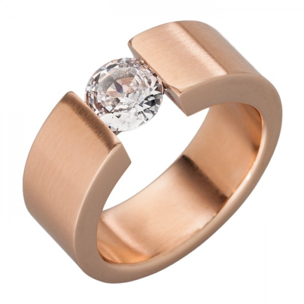 Ring aus Edelstahl, 7 mm, Rotgold-PVD + Zirkonia
