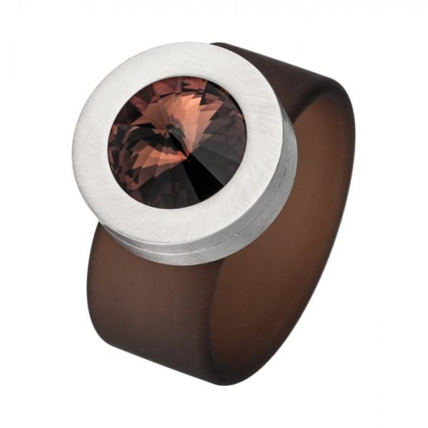 PVC Edelstahl Ring braun, brauner Swarowski Stein