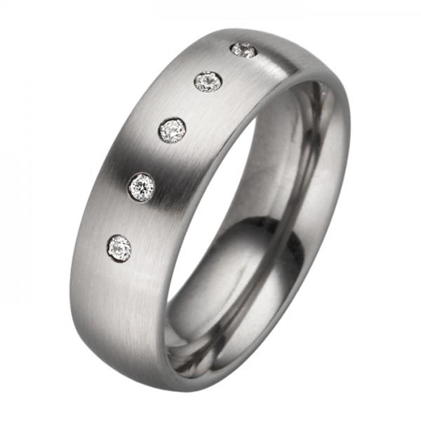 Schlichter Ring mit 5 Zirkonia