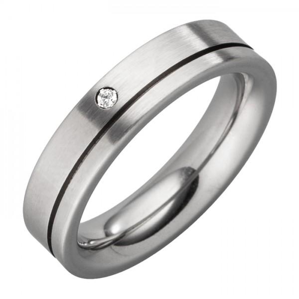 Ring mit 1 Stein 5mm breit