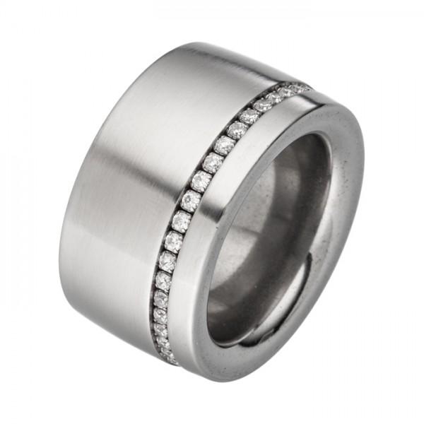 Breiter Edelstahlring einfacher Jewel Chain