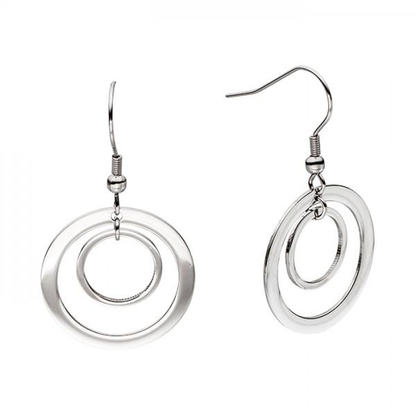 Edelstahl Ohrringe, 2 polierte Ringe