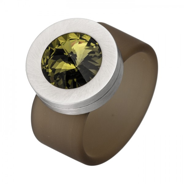 PVC Edelstahl Ring oliv, oliver Swarowski Stein