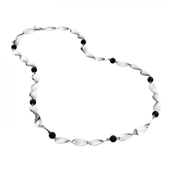 Edelstahlkette poliert mit schwarzen Perlen