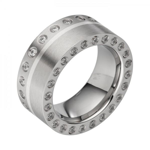 10mm Stahlring m. Silber Inlay viele Zirkoniasteine