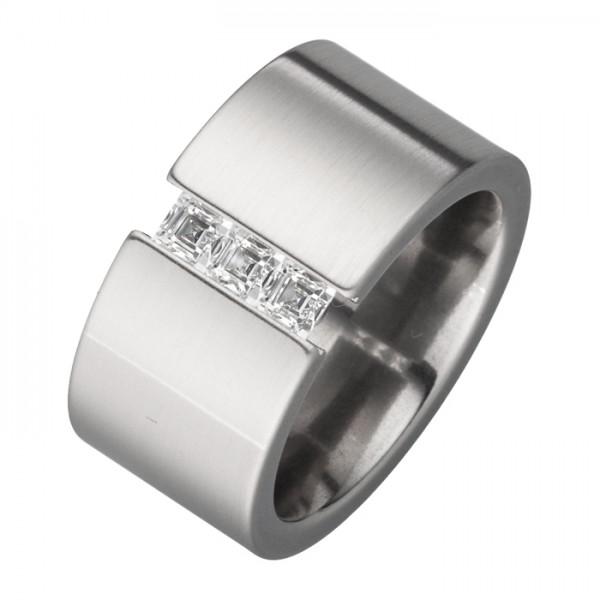 Designer Ring weiße o. schwarz weiße Zirkonia