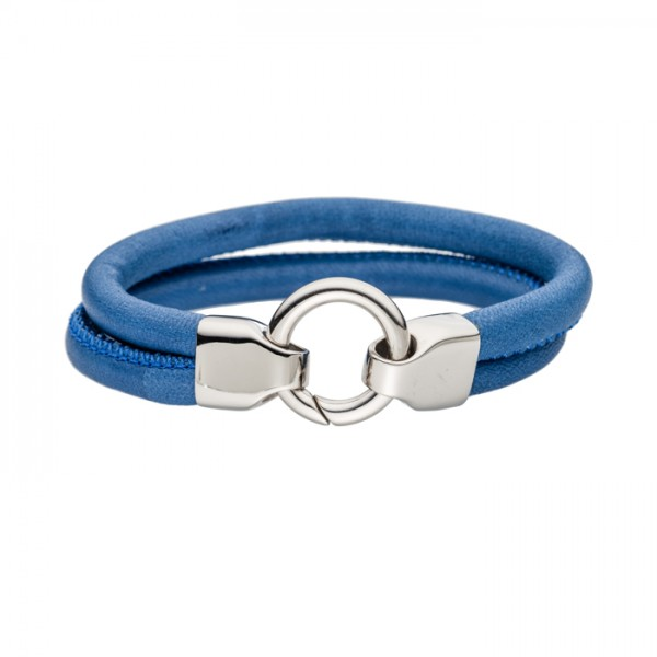 Lederarmband Farbe blau Edelstahlschliesse