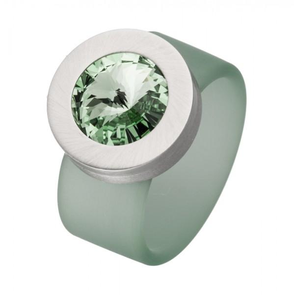 PVC Edelstahl Ring grün, grüner Swarowski Stein