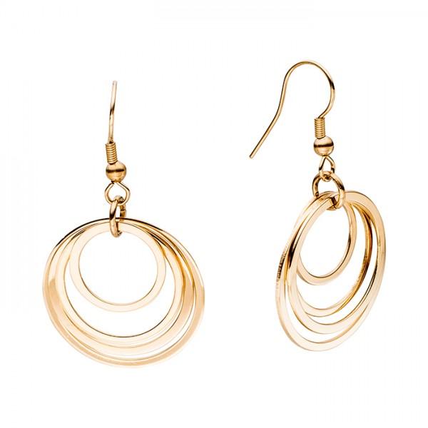Ohrringe Edelstahl, Gold PVD, vier Ringe