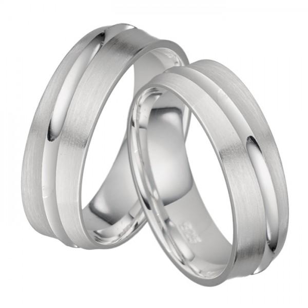 Silber Trauringe, Ringbreite 6 mm, schlicht