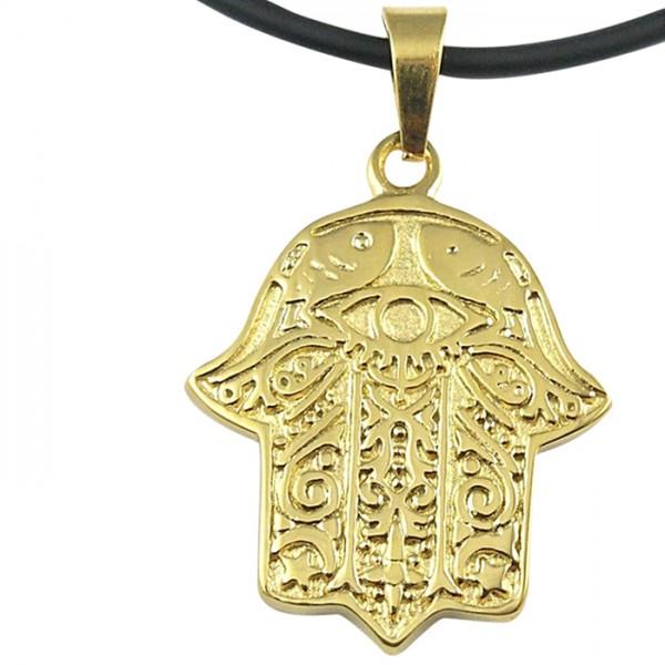 Edelstahlanhänger Fatima Hand Gold PVD